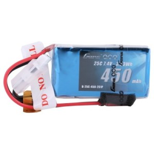 Gens ace 450mAh 25C 2S1P 7.4V Lipo Battery Pack with JST plug